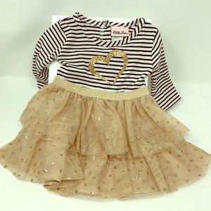 Little Lass Baby Gold Heart Dress